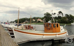 Åhus Gastis by the river and great boats, Skane