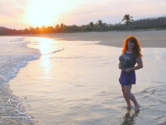 Sheila on Playa de las Angelas - sunsets were consistently gorgeous
