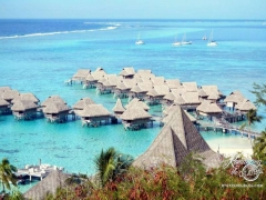 Sofitel Moorea Resort overwater bungalows from Toatea Lookouts